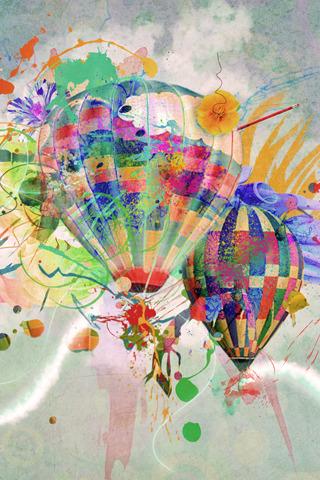 Abstract Hot Air Balloons iPhone Wallpaper