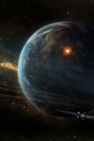 Planet Explosion iPhone Wallpaper
