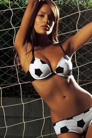 Bikini Soccer Girl iPhone Wallpaper