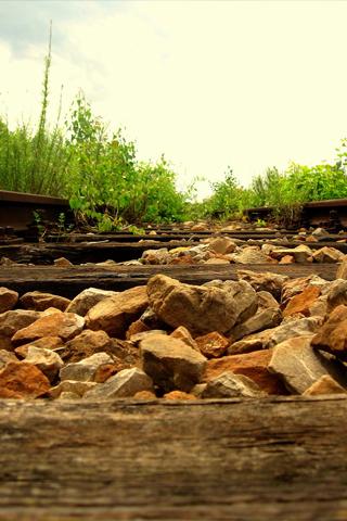 Railroad Tracks POV iPhone Wallpaper