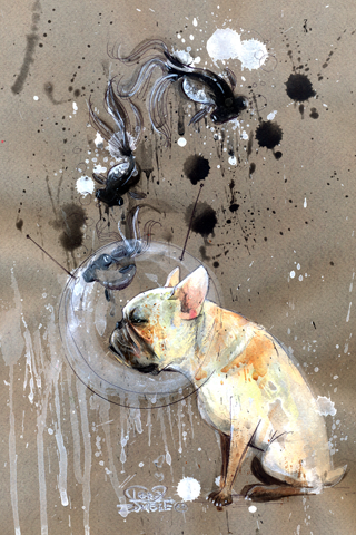 Abstract Dog Painting iPhone Wallpaper