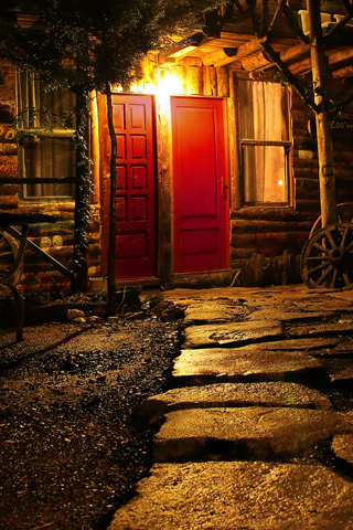 Late Night Cabin iPhone Wallpaper