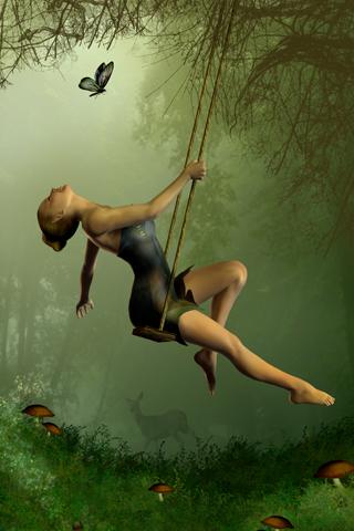 Swinging Fairy iPhone Wallpaper