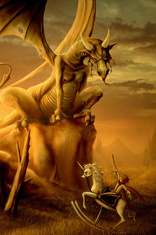 Knight vs Dragon iPhone Wallpaper