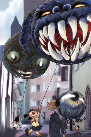 Scary Balloons iPhone Wallpaper