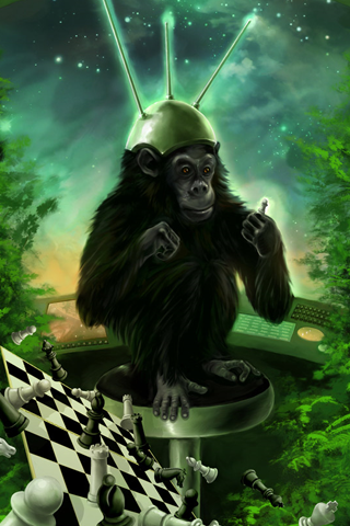 Monkey Chess iPhone Wallpaper