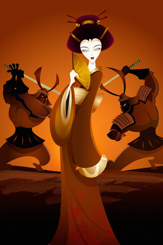 Battle For a Geisha iPhone Wallpaper