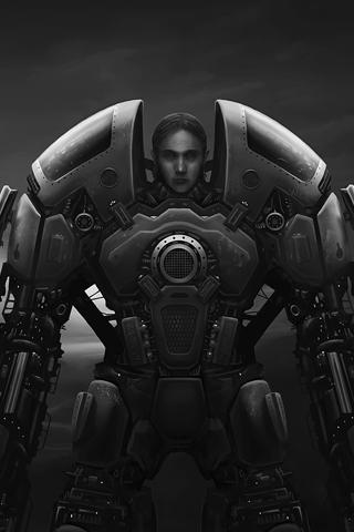 Robotic Warrior iPhone Wallpaper