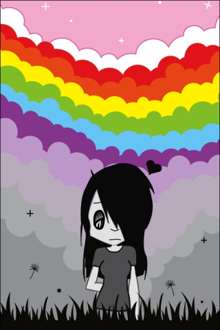 Emo under the rainbow iPhone Wallpaper