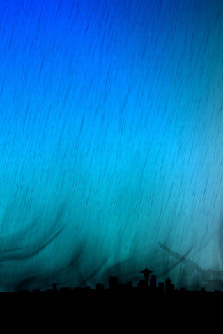 Seattle in the rain iPhone Wallpaper